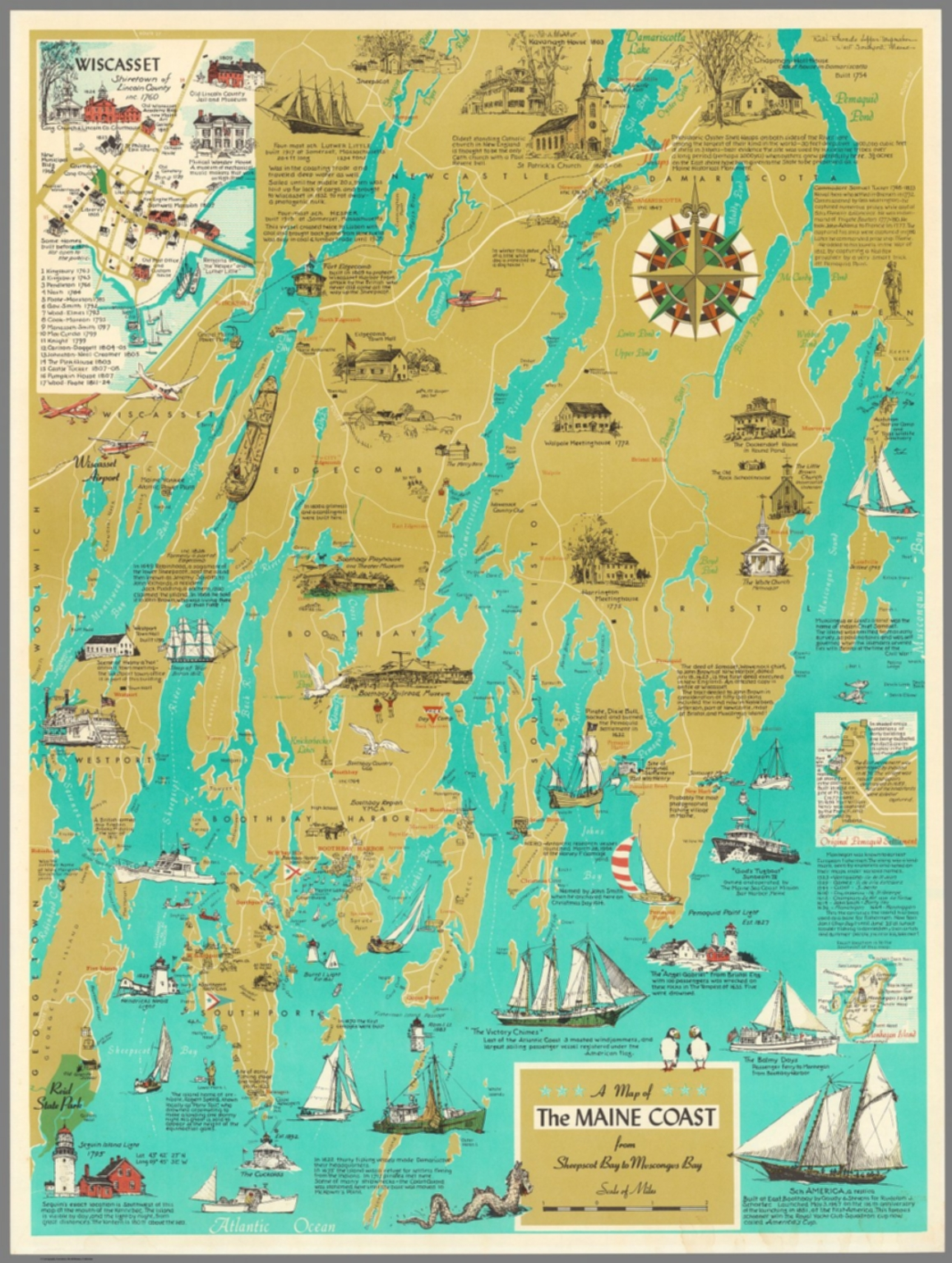 A Map Of The Maine Coast From Sheepscot Bay To Muscongus Bay