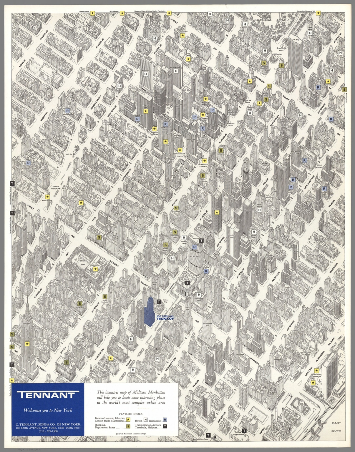 Tennant welcomes you to New York Anderson Isometric Maps 1968