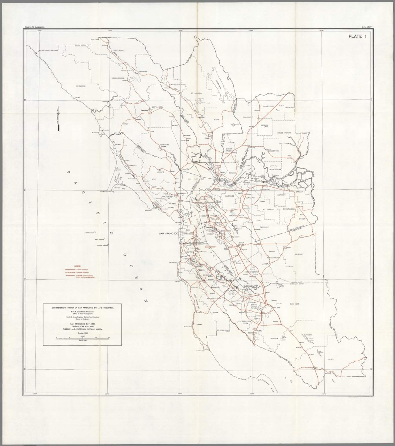 Plate 1 San Francisco Bay Area Orientation Map And Freeway System David Rumsey Historical Map Collection The san francisco bay area since the 1800s has drawn people from around the world seeking fortune a booming regional economy has led to record congestion on the bay area's freeways. david rumsey map collection