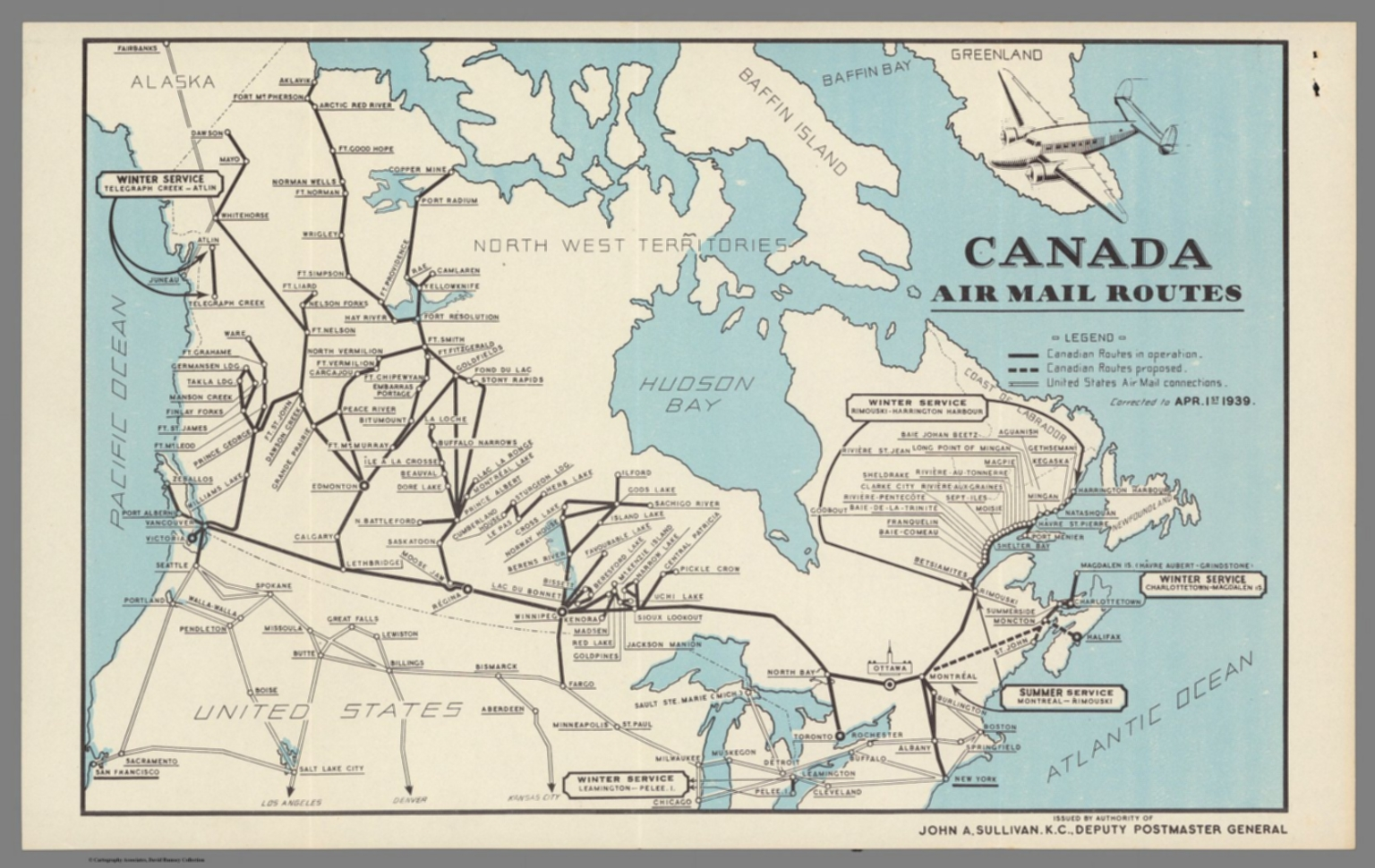 Canada Map Route Canada Air Mail Routes.   David Rumsey Historical Map Collection