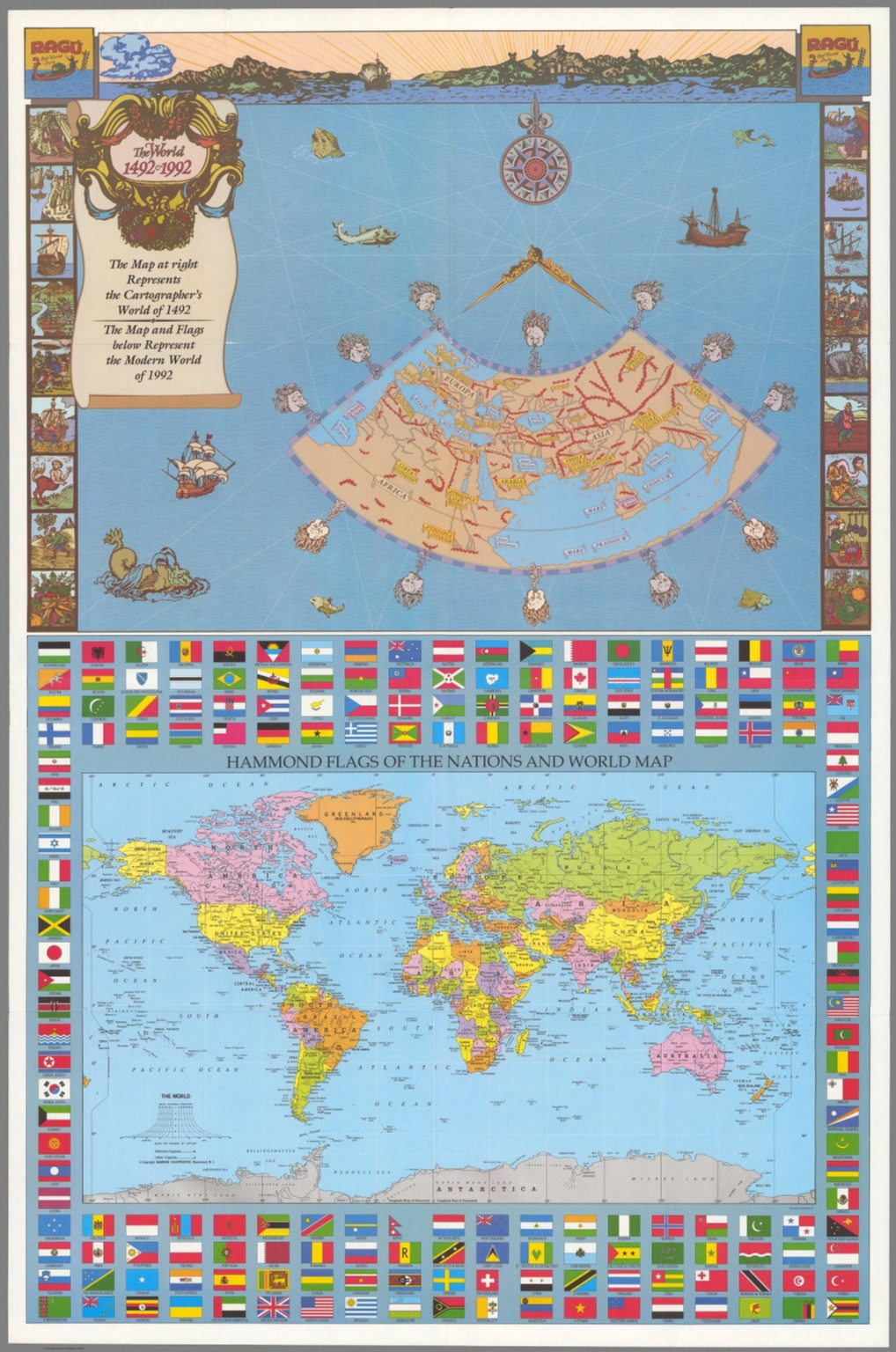World, 1492 and 1992.   David Rumsey Historical Map Collection