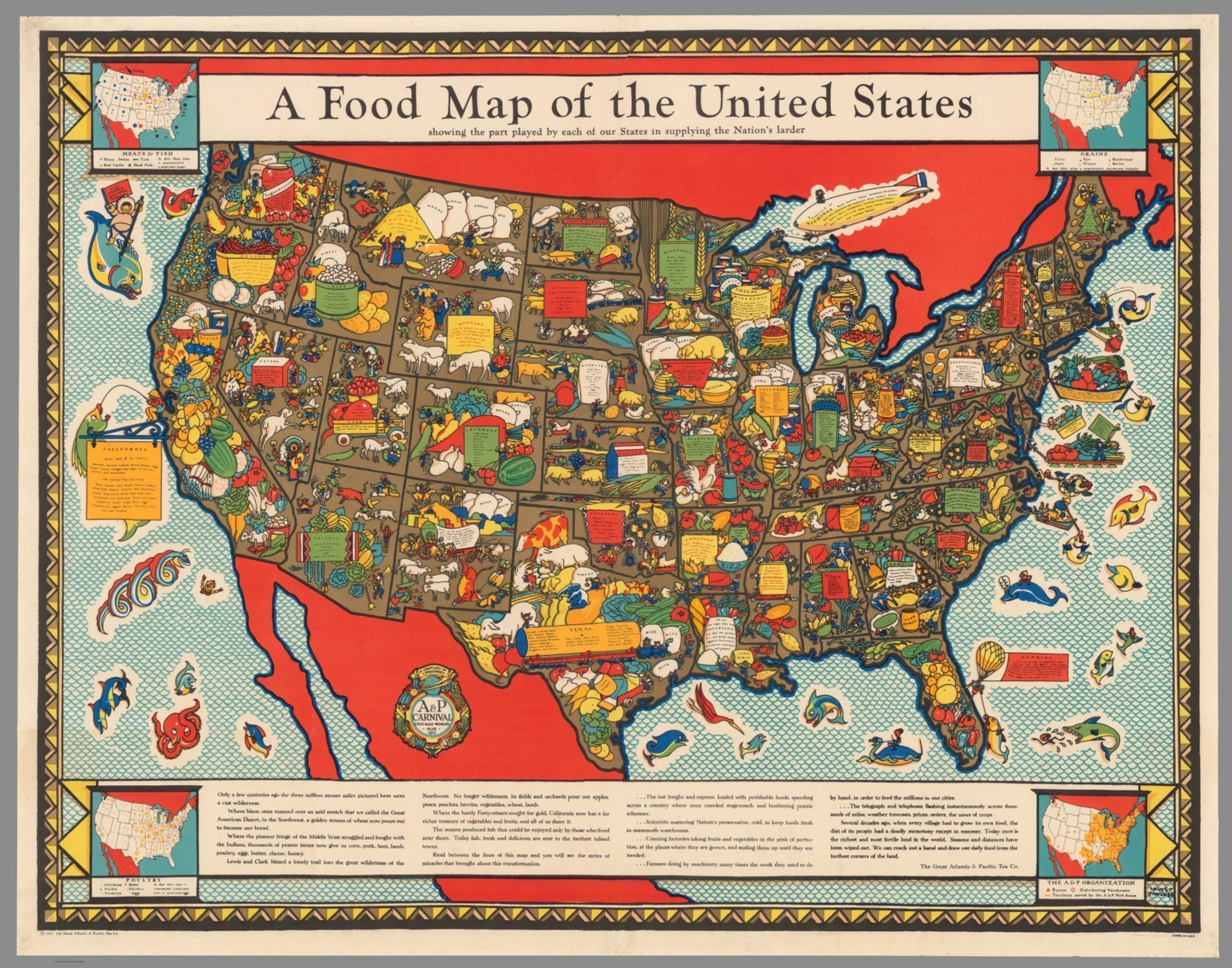 A Food Map Of The United States Hist 1952