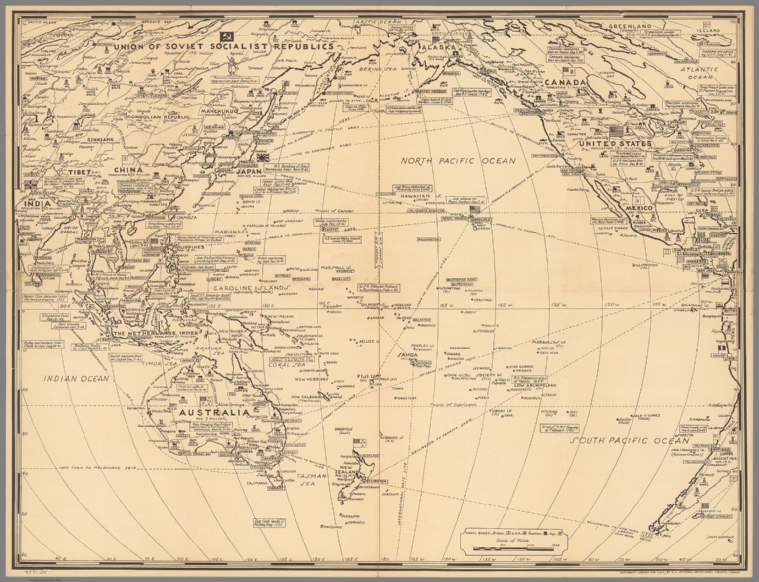 Map of the Pacific War Fronts Dated Events. 1943. - David Rumsey ...