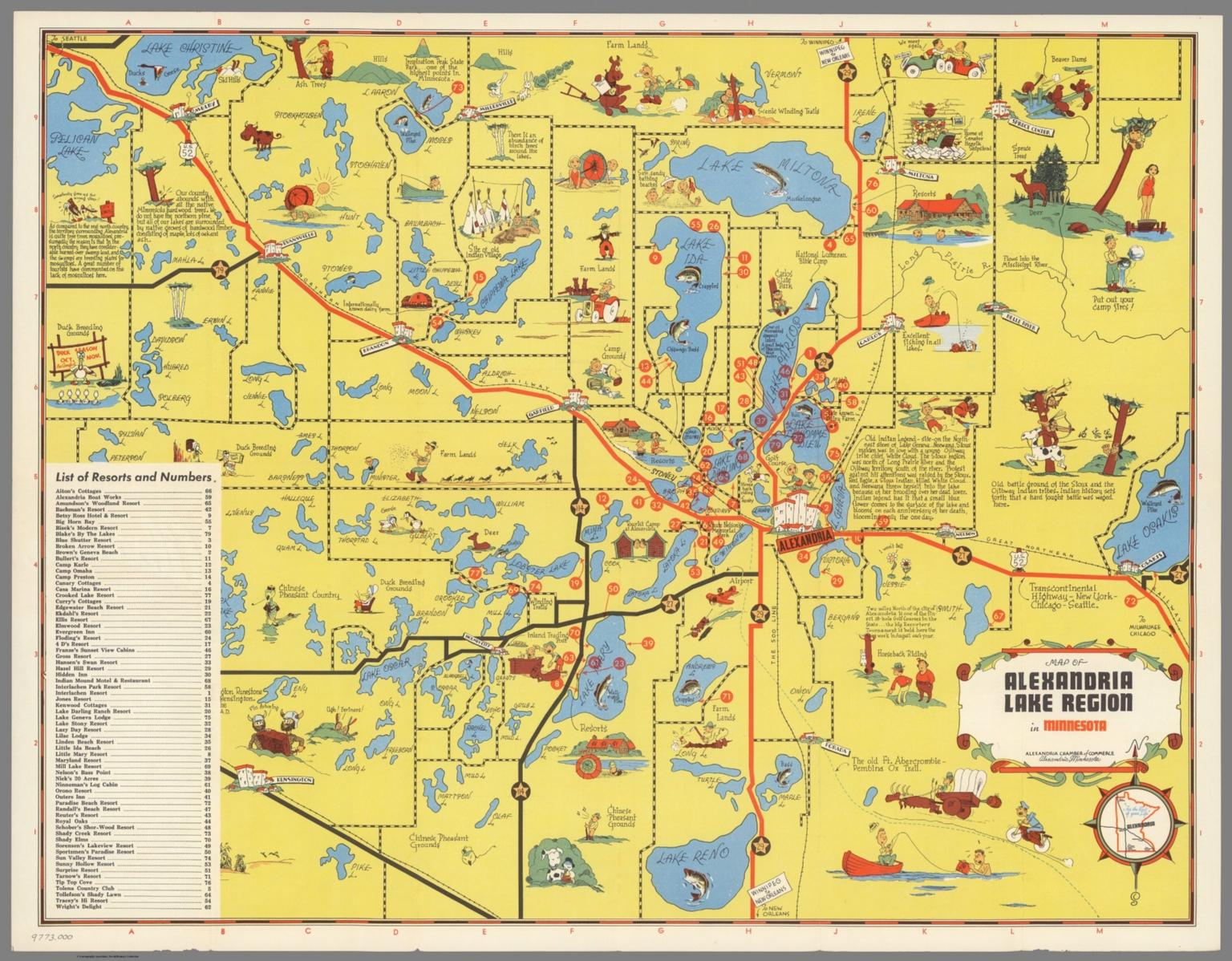 Map of Alexandria Lake Region in Minnesota David Rumsey