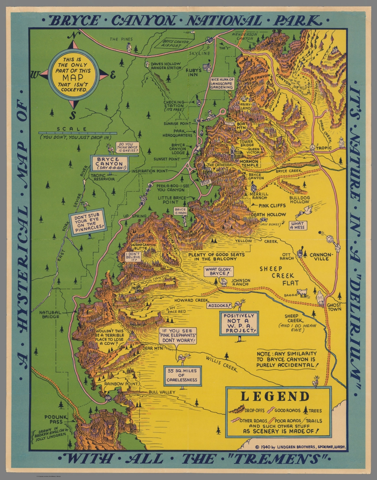 Hysterical Map of Bryce Canyon National Park. - David Rumsey ...