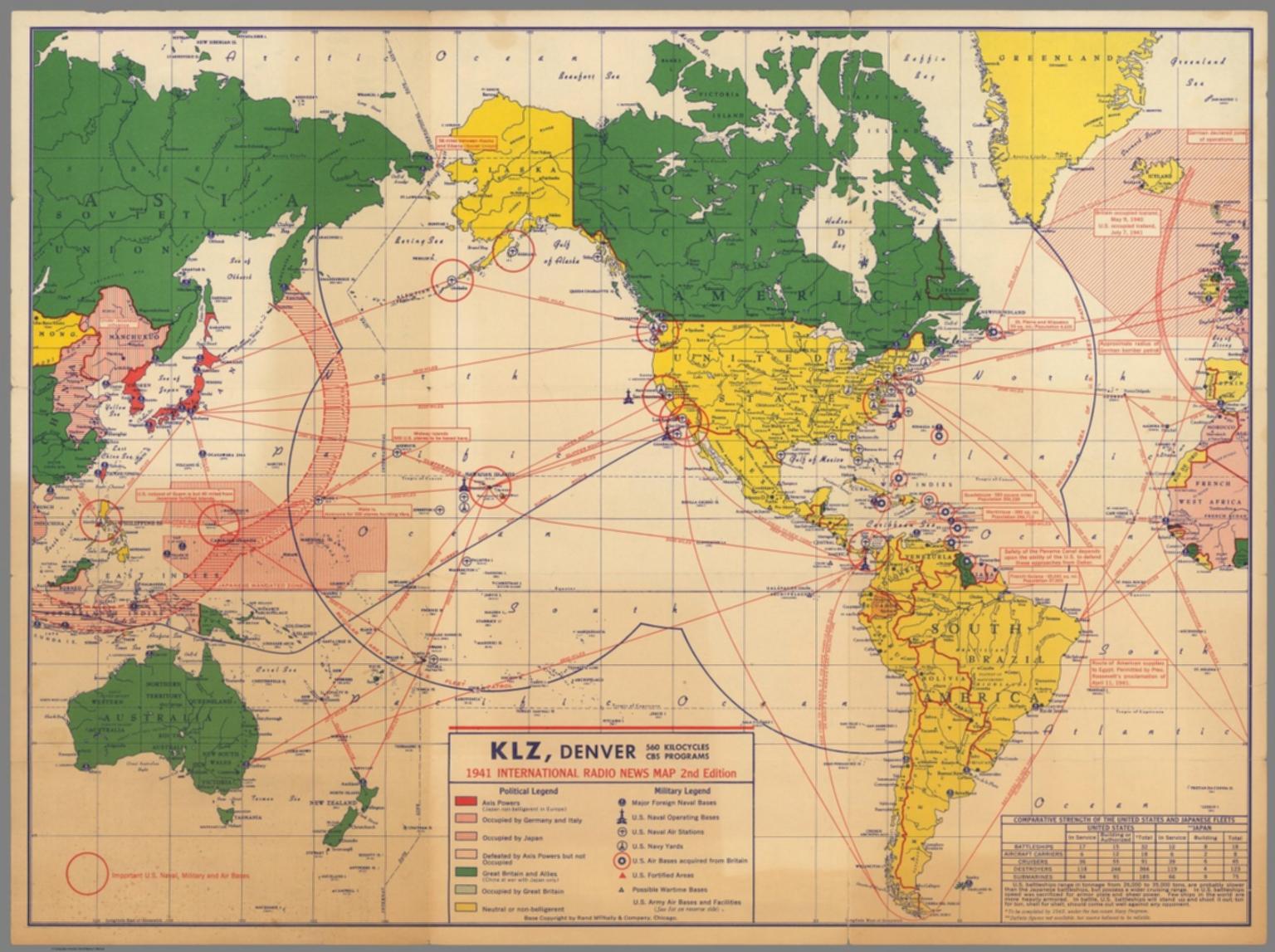 Denver World Map.Klz Denver 1941 International Radio News Map Second Edition
