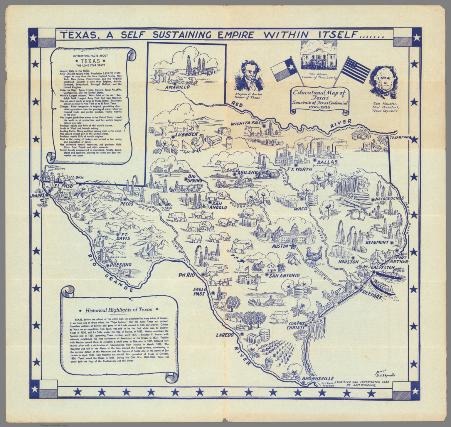 Map Of Texas 1836.Educational Map Of Texas Souvenir Of Texas Centennial 1836 1936