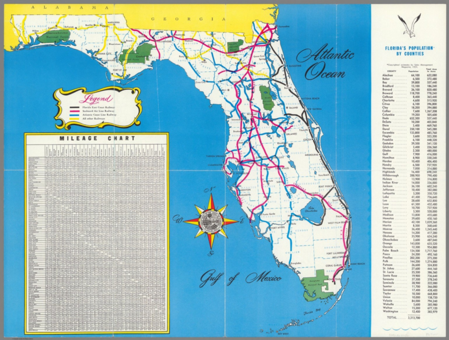 Florida Population Map.Florida S Population By Counties David Rumsey Historical Map