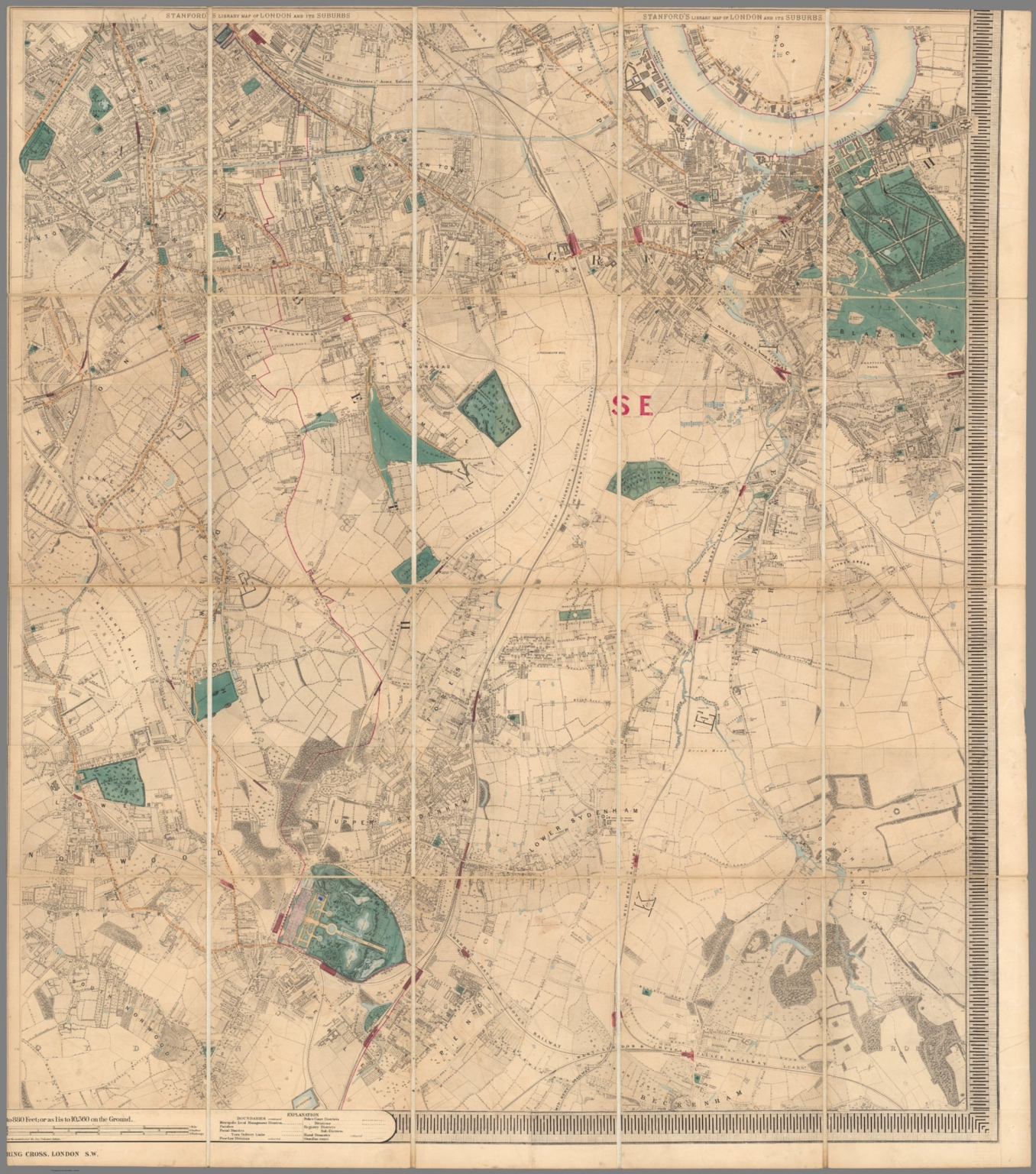 south east sheet stanfords library map of london and its suburbs