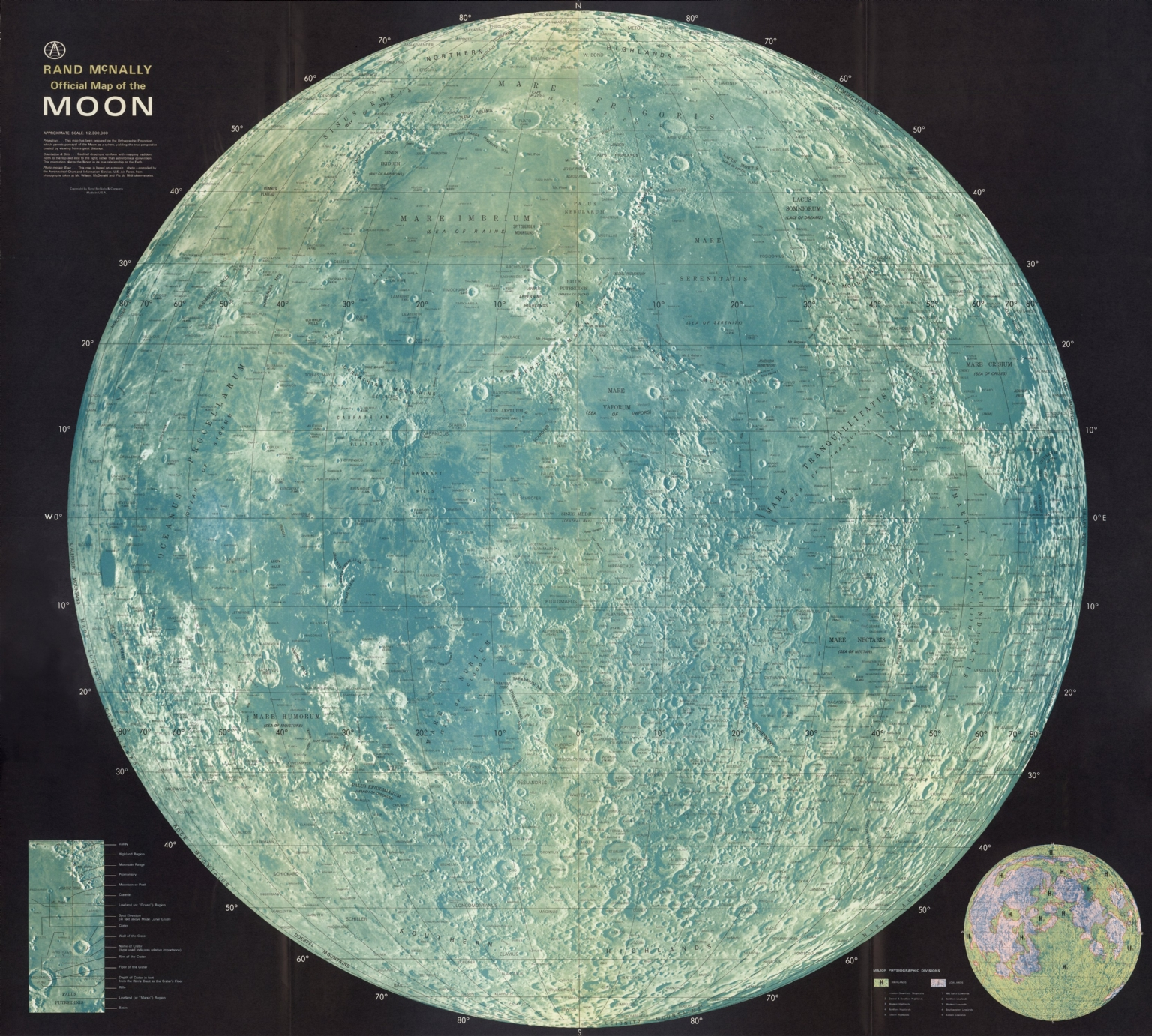 Rand McNally official map of the Moon - David Rumsey ...