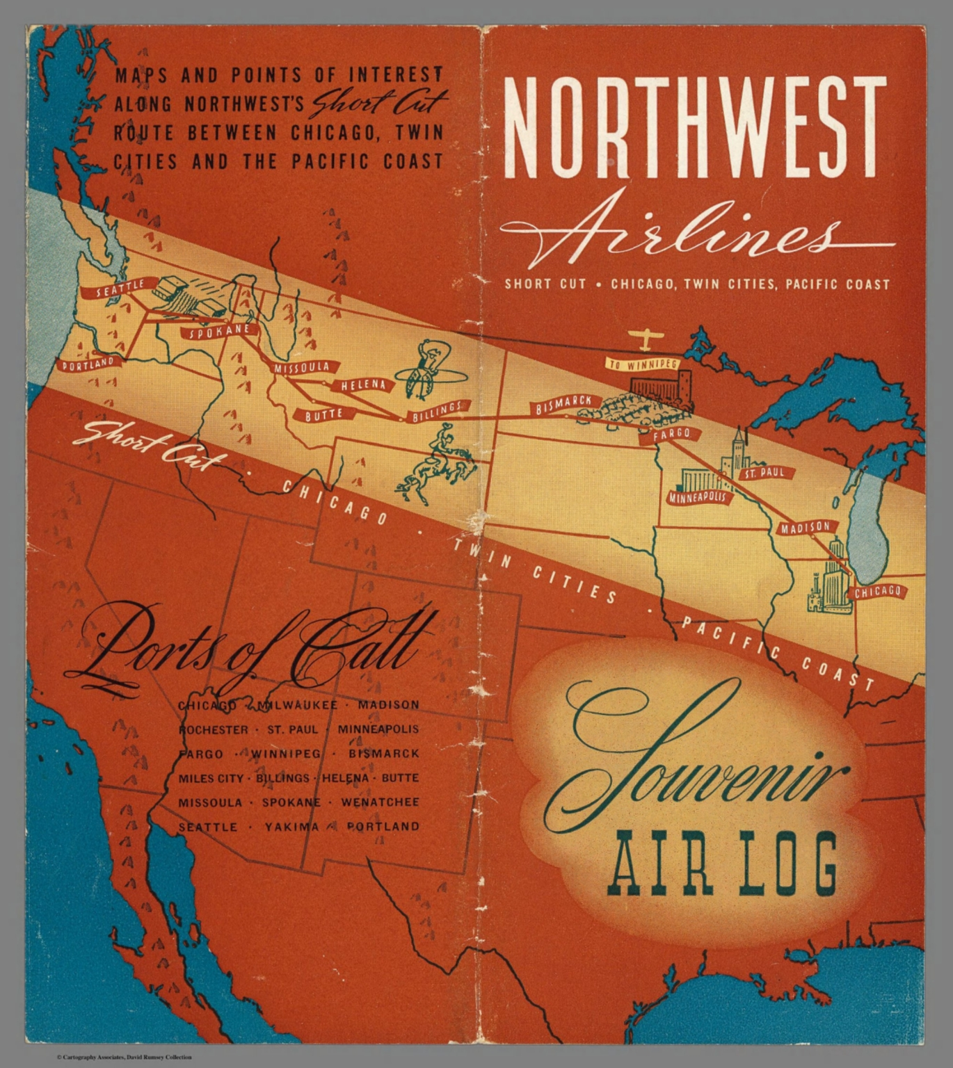 Northwest Chicago Map.Covers Northwest Airlines Short Cut Chicago Twin Cities