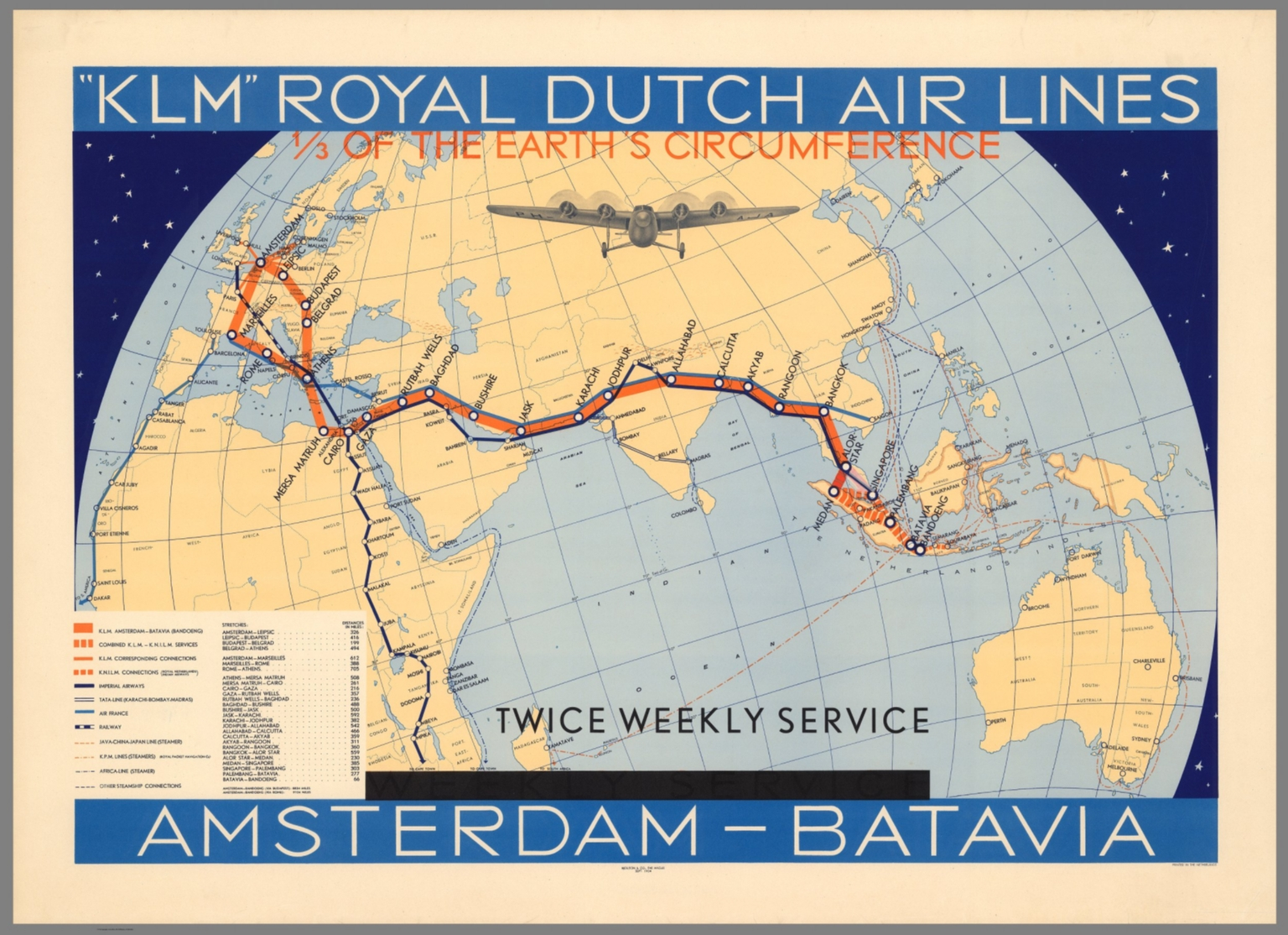 KLM Royal Dutch Airlines Amsterdam-Batavia Weekly Service - David ...