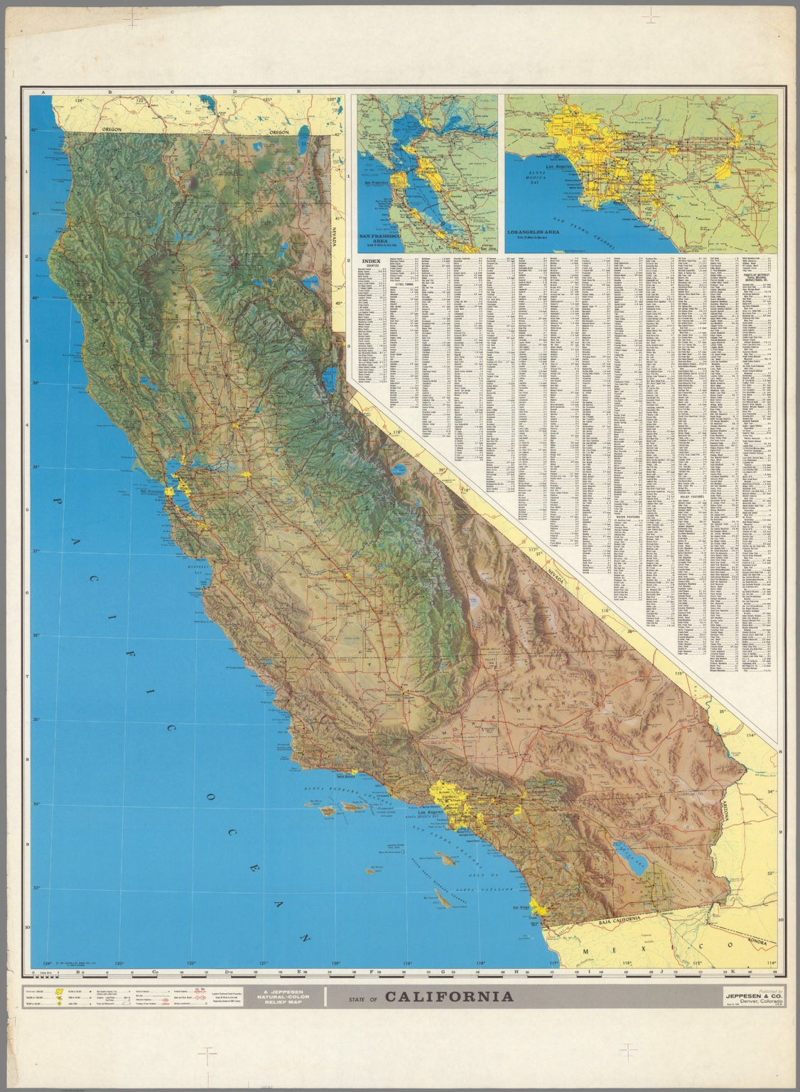 A Jeppesen natural - color relief map - David Rumsey Historical Map on la california map, geologic map, california disaster map, california drought 2013 map, california regions coloring page, california nature map, california love map, california safety map, south orange county california map, california chaparral biome map, california regions map, california palm trees art, california geographical map, political map, california painting map, california geology map, california food map, california snow depth map, washington topographic map, california mountains map,