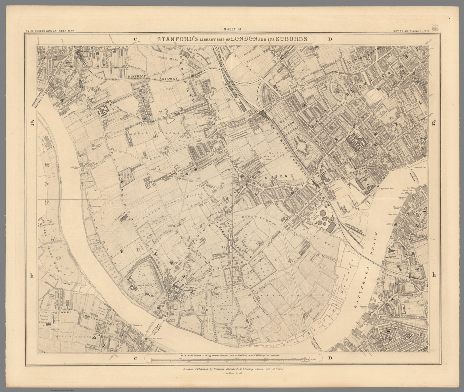 Sheet 13. Stanford's Library Map of London and it's Suburbs.