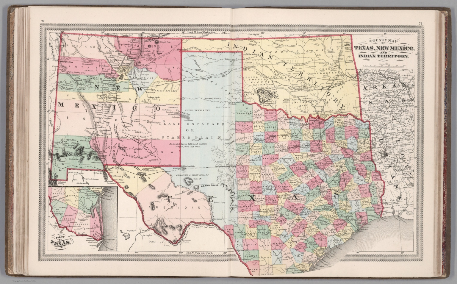 Map Of Texas New Mexico.County Map Of Texas New Mexico And Indian Territory David Rumsey