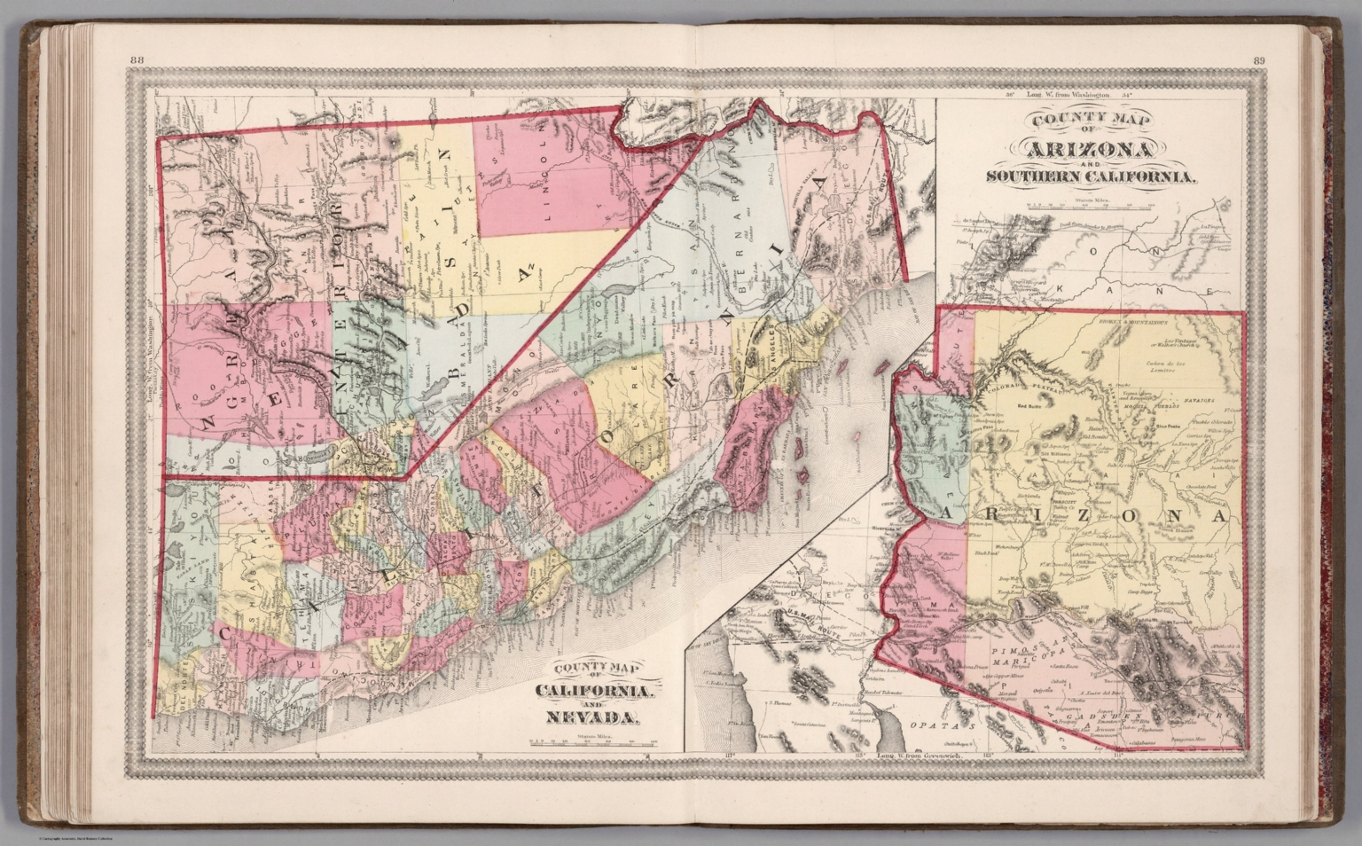 County Map Of California And Nevada County Map Of Arizona And