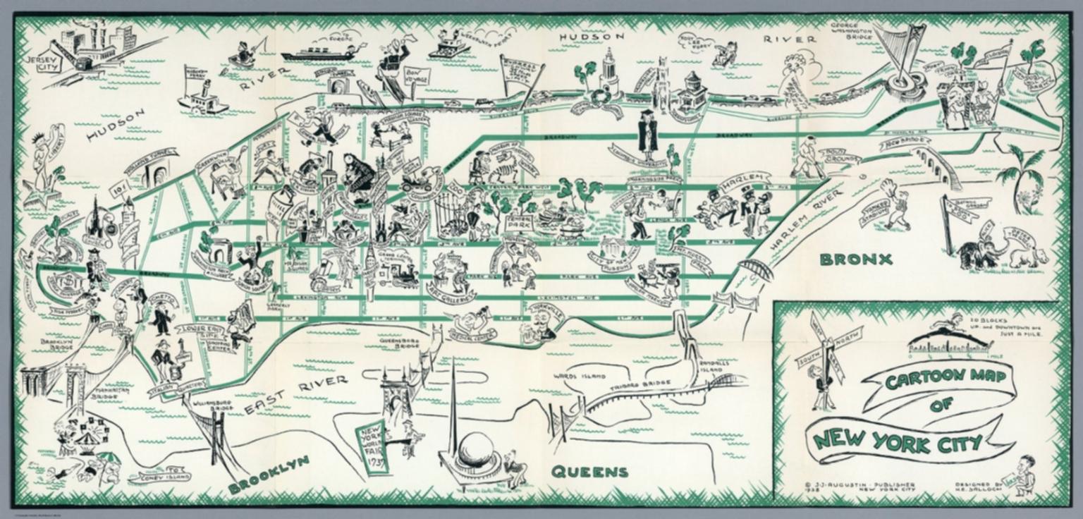 Cartoon Map Of New York City.Cartoon Map Of New York City J J Augustin Publisher 1938 New