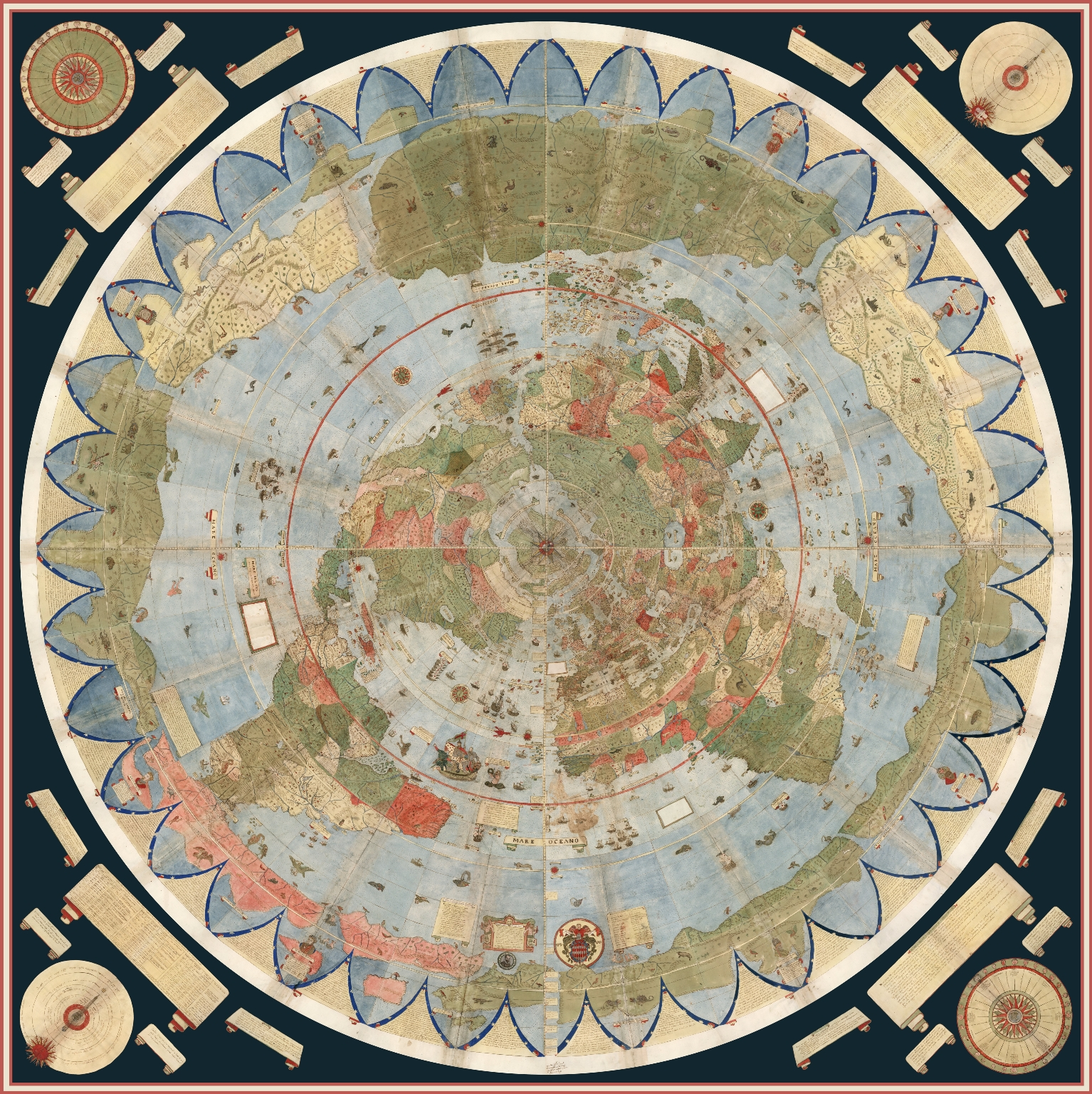 Composite: Tavola 1-60. (Map of the World) (with additional spheres and labels in the four corners).