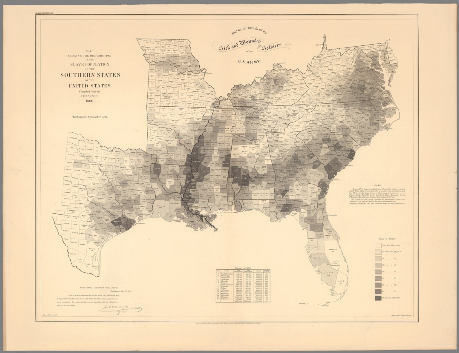 Map Showing The Distribution Of The Slave Population Of The Southern States David Rumsey Historical Map Collection