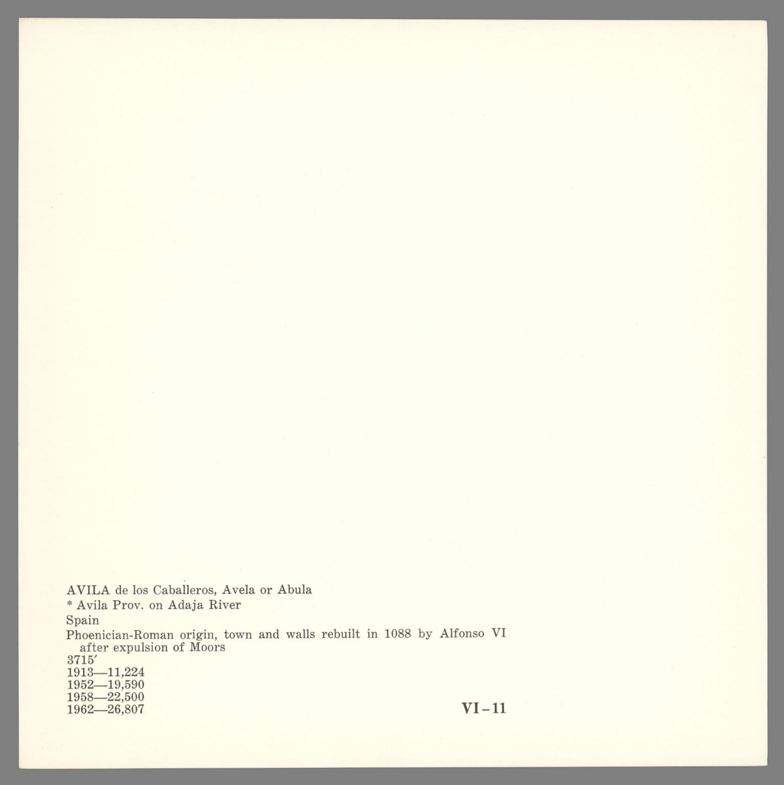 Covers: VI. Avila. 11.