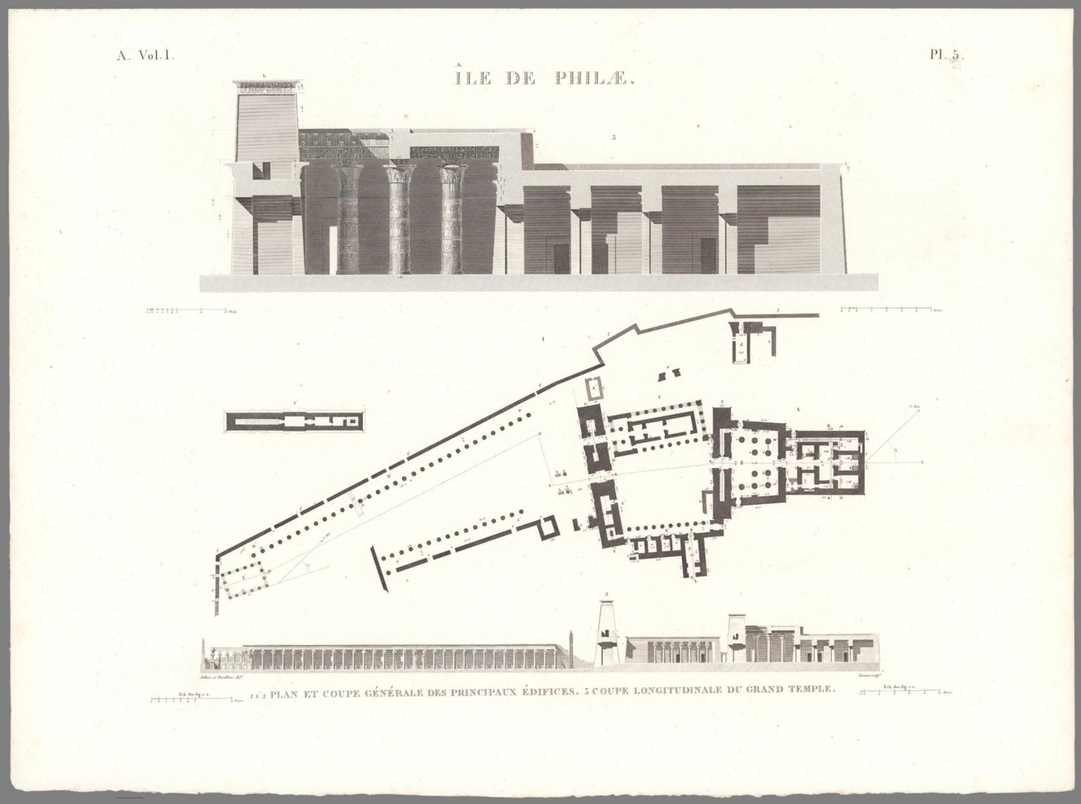 Planche 5, île de Philæ. 1.1.2 Plan Et Coupe Générale Des Principaux Édifices. 3 Coupe Longitudinale Du Grand Temple.