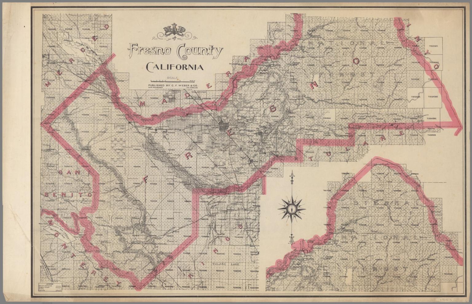 Map of Fresno County, California