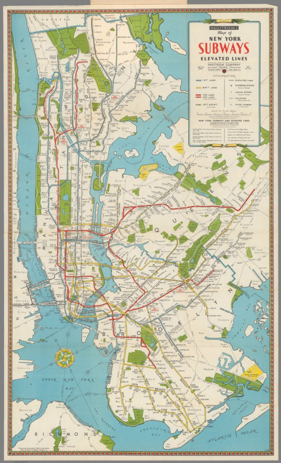 Hagstrom S Map Of New York Subways Elevated Lines David Rumsey Historical Map Collection
