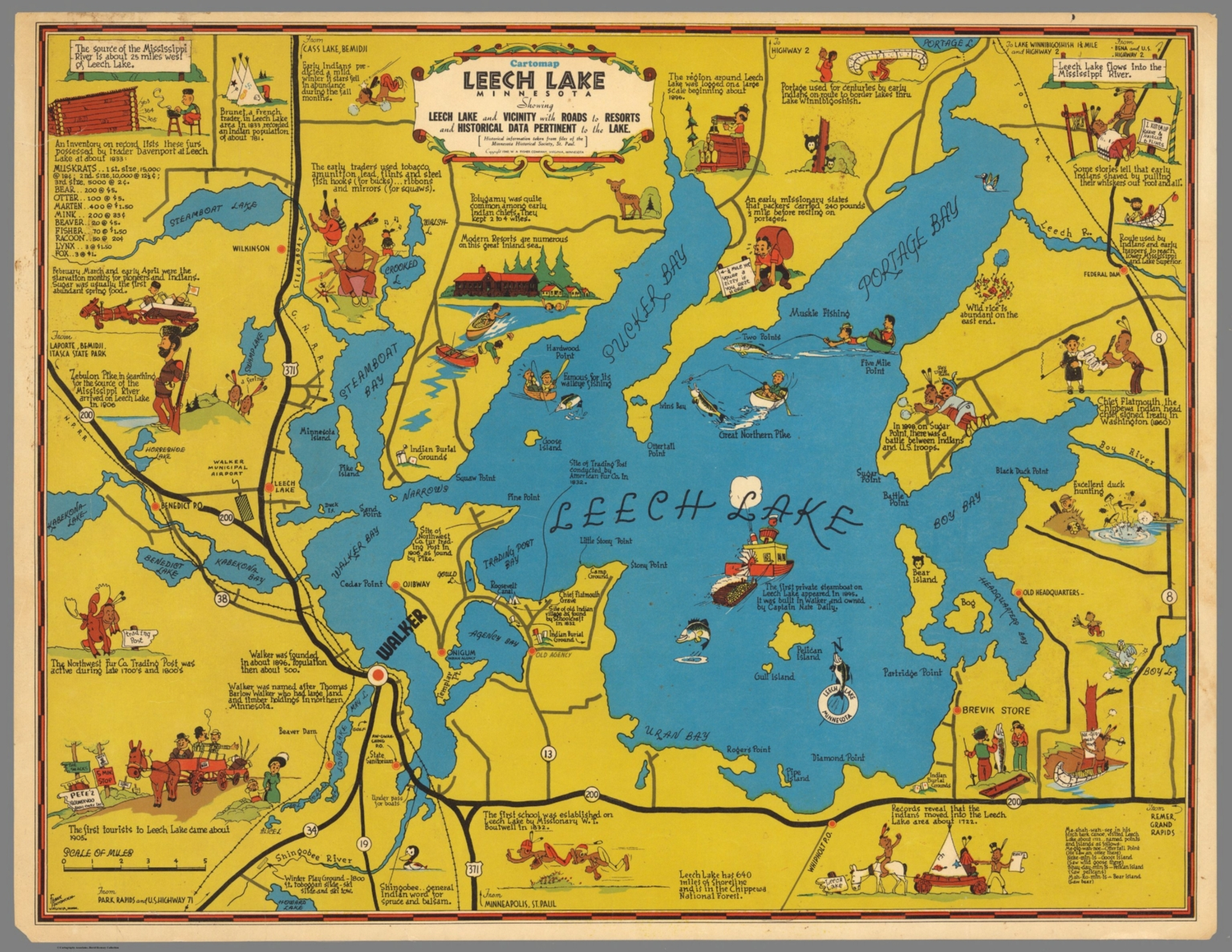 Leech Lake Map Cartomap Leech Lake, Minnesota   David Rumsey Historical Map