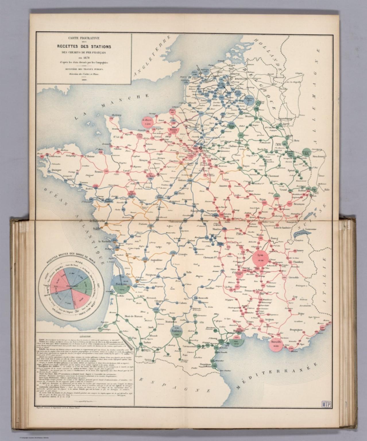 Carte Figurative des Recettes des Stations des Chemins de Fer Francais en 1878. (Gross earnings of the stations of the railroads in 1878)