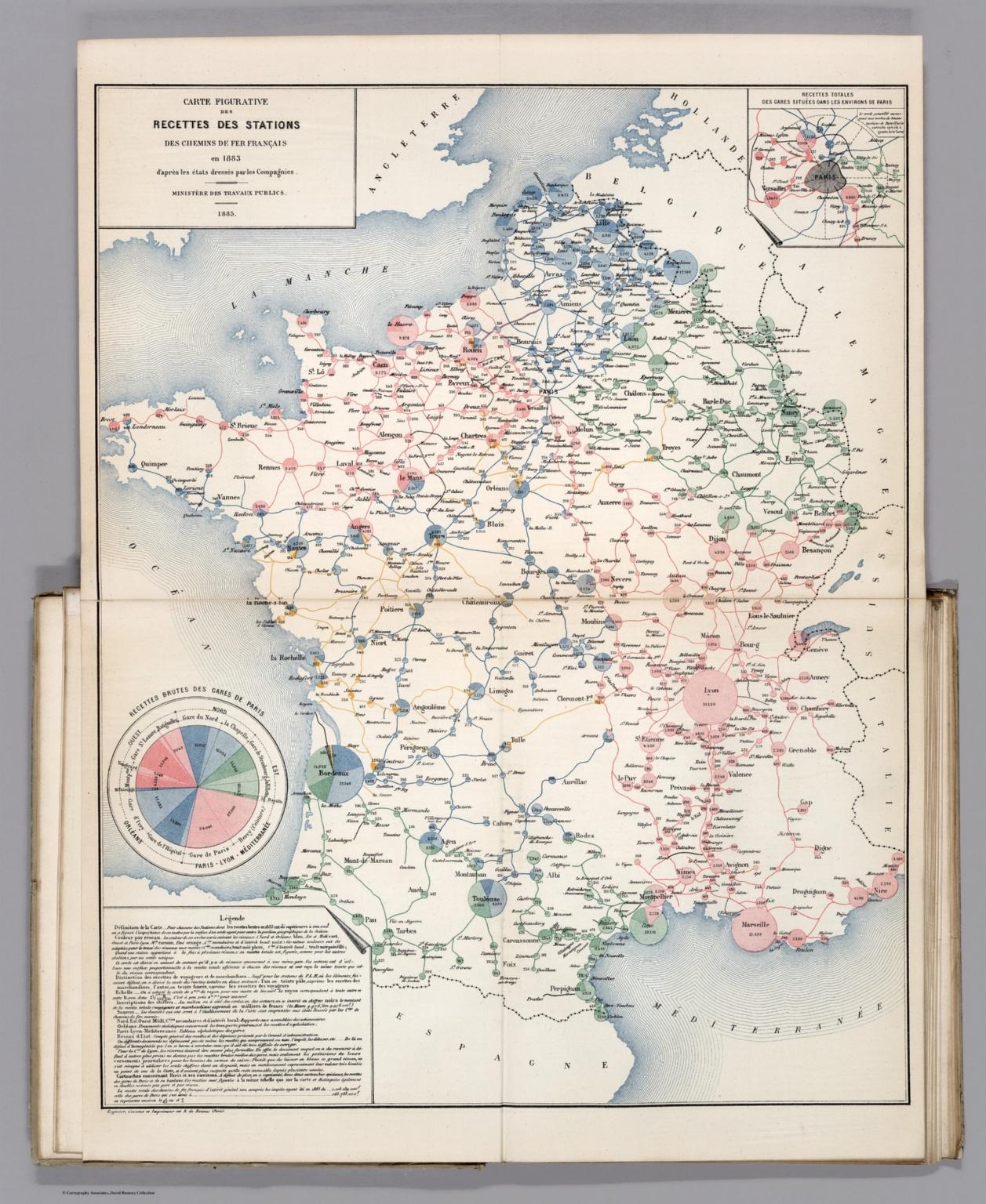 Carte Figurative des Recettes des Stations des Chemins de Fer Francais en 1883.