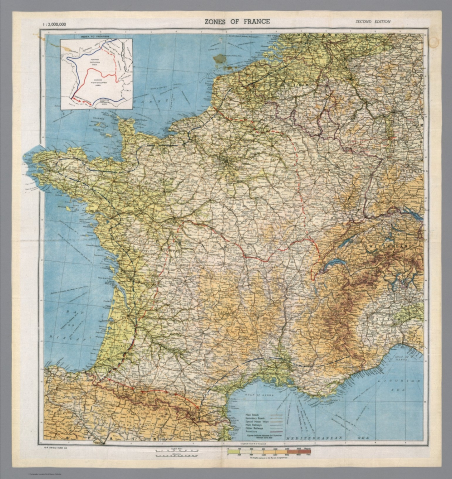 Map Of France Zones.Zones Of France 1 2 000 000 David Rumsey Historical Map Collection
