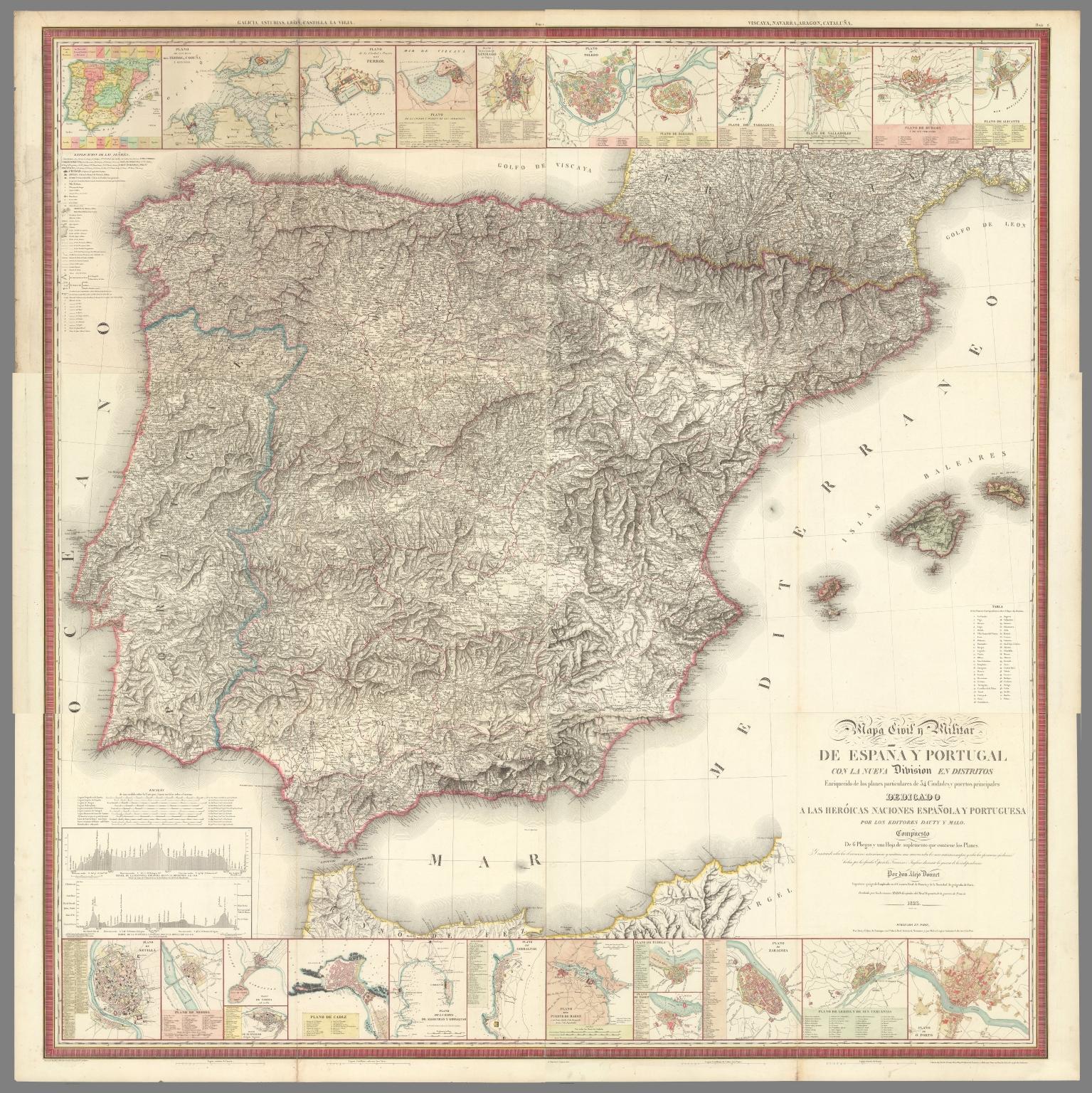 Composite: Mapa Civil y Militar de Espana y Portugal Hoja 1-6
