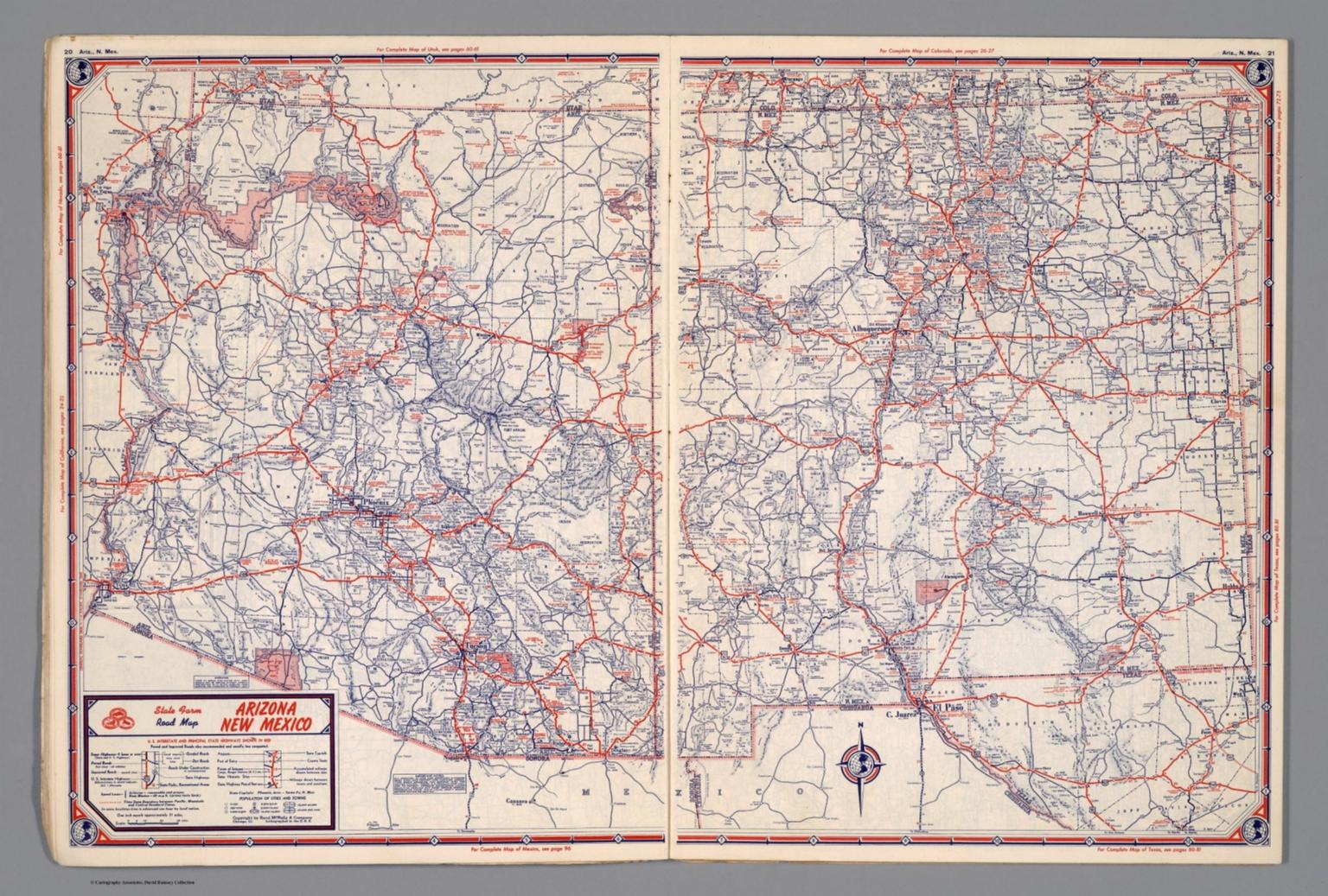 State Farm Road map: Arizona, New Mexico - David Rumsey ...