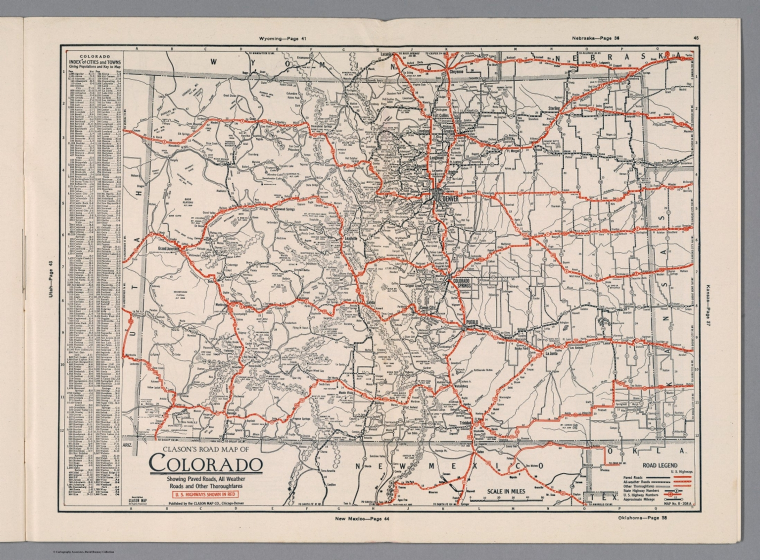 Clason's Road Map of Colorado