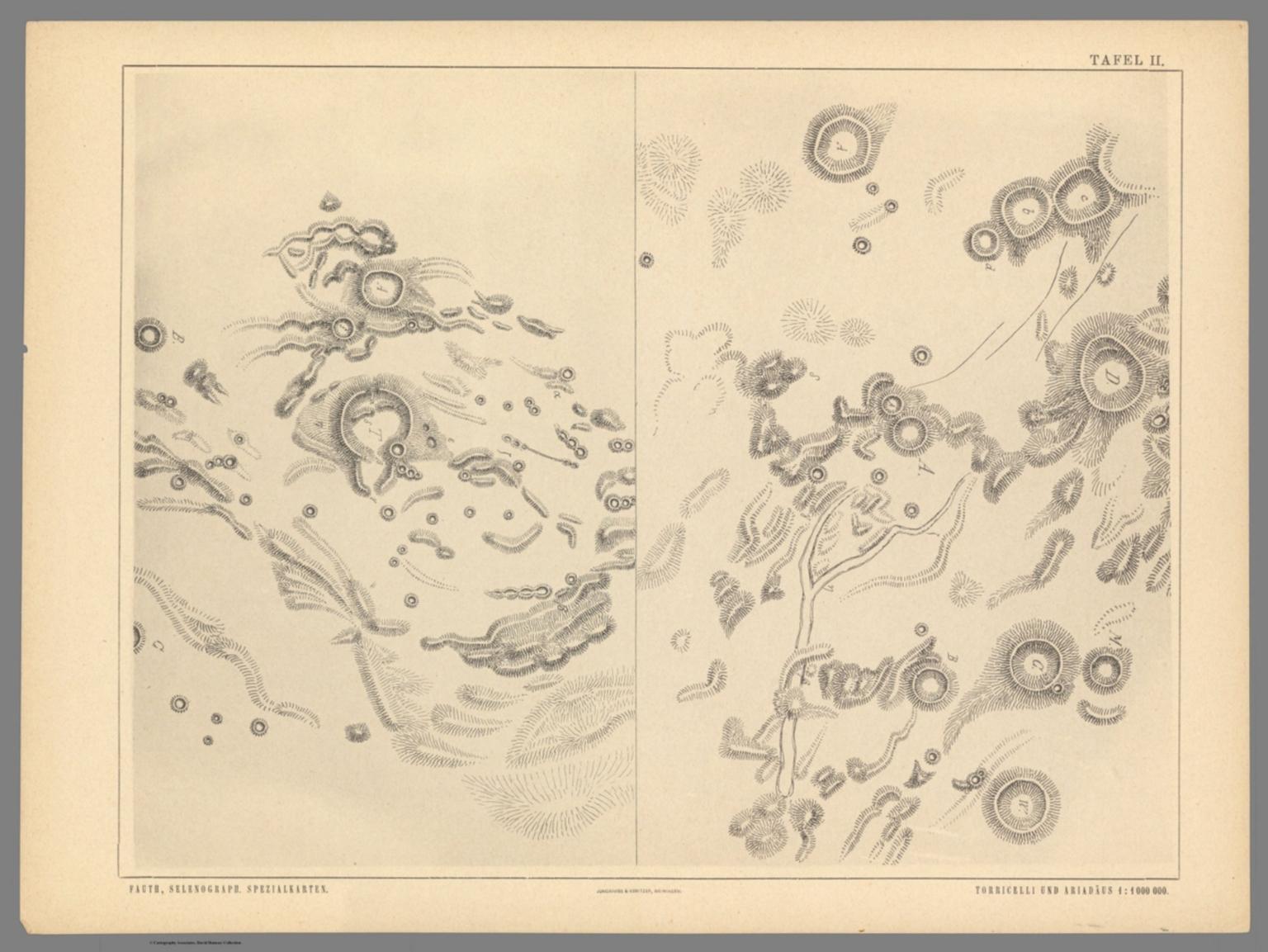 Tafel II. Fauth, Phil. Atlas von 25 topographischen Spezialkarten des Mondes
