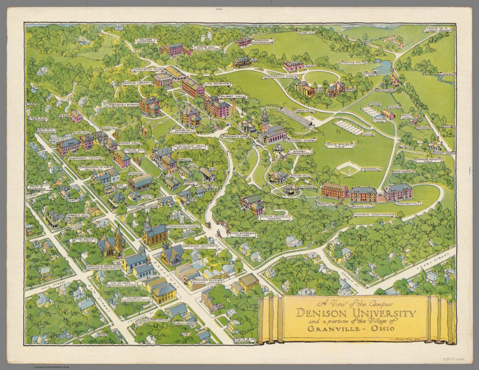 denison university campus map A View Of The Campus Denison University David Rumsey denison university campus map