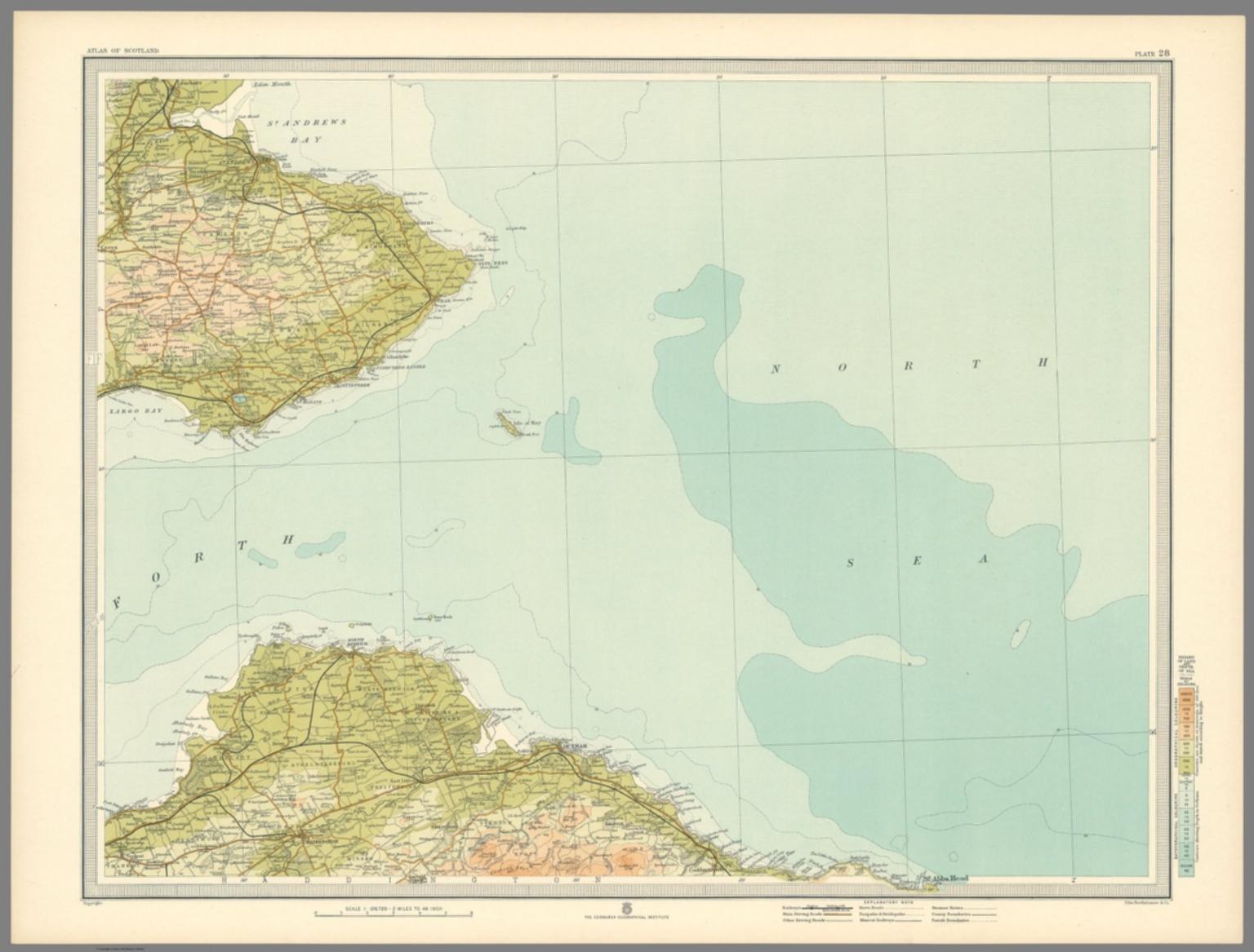 DUNBAR /& St ANDREWS Plate 28 1912 ATLAS of SCOTLAND John Bartholomew /& Co