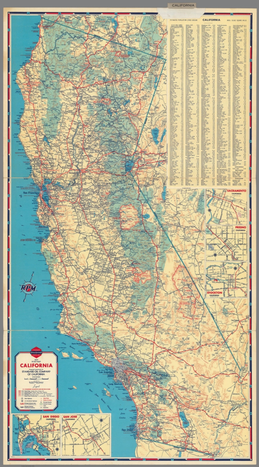 1937 road map of California
