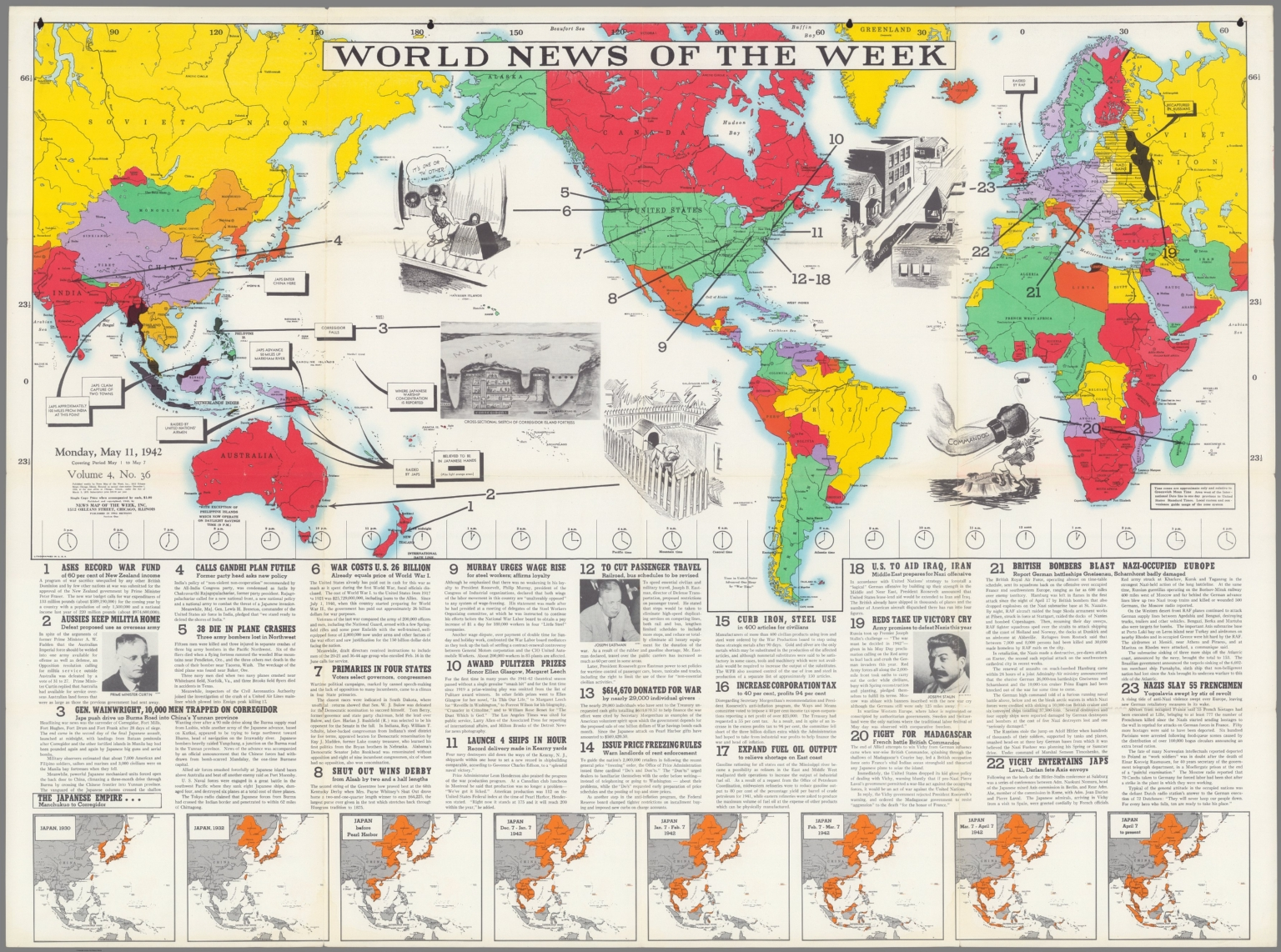 World News of the Week : Monday, May 11, 1942.